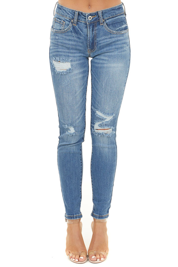 Medium Wash Distressed Mid Rise Ankle Skinny Jeans