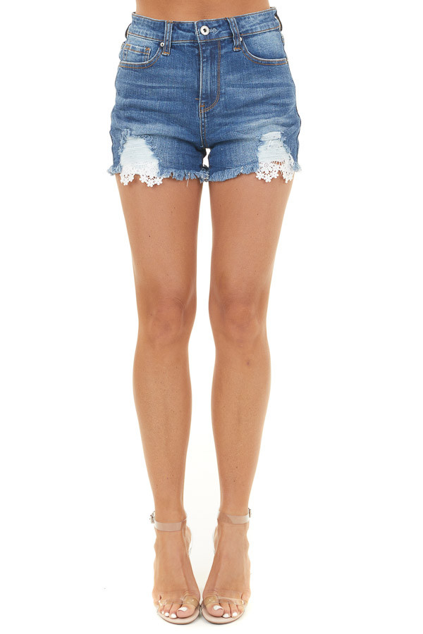 Dark Wash Denim Mid Rise Shorts with Lace Distressed Details