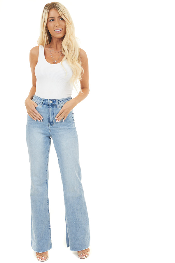 Light Wash Denim High Rise Distressed Flare Jeans