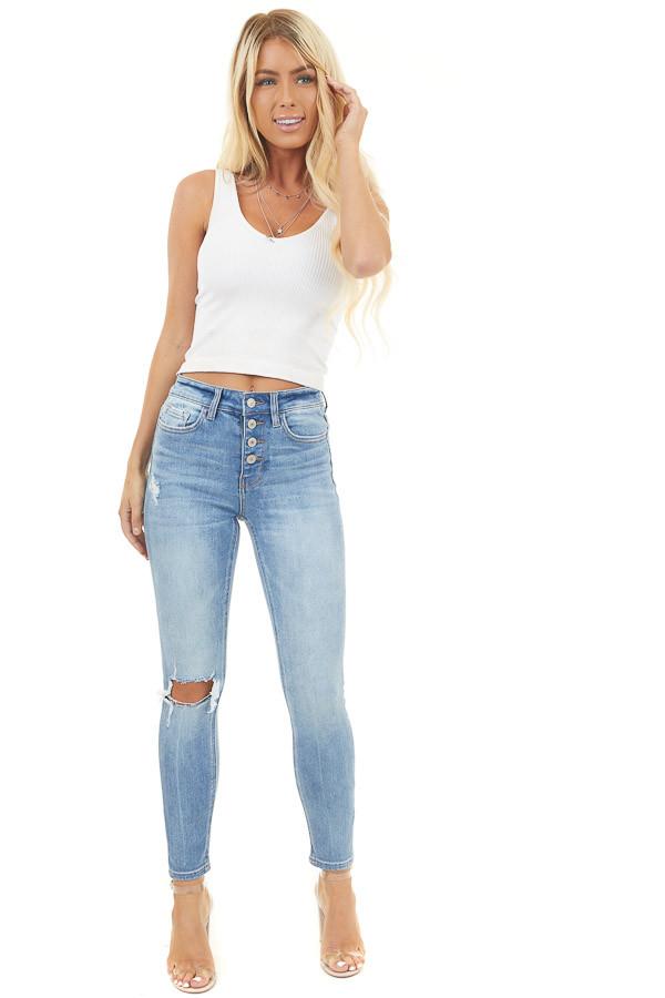 Midwash Denim High Rise Skinny Jeans with Button Up Closure