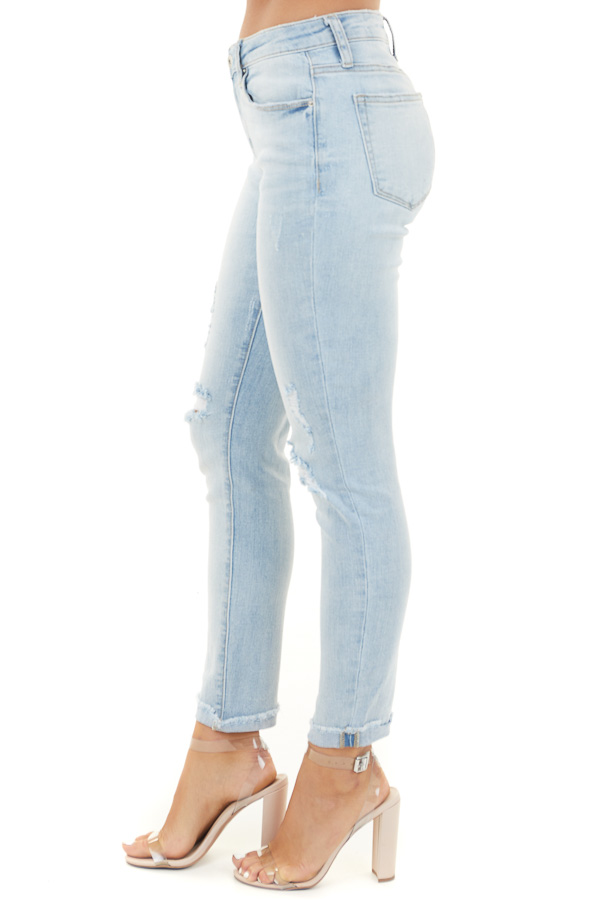 Light Wash Distressed Mid Rise Skinny Jeans with Cuff Detail