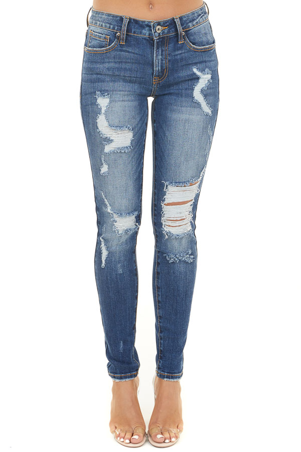 Dark Wash Mid Rise Ankle Length Distressed Skinny Jeans