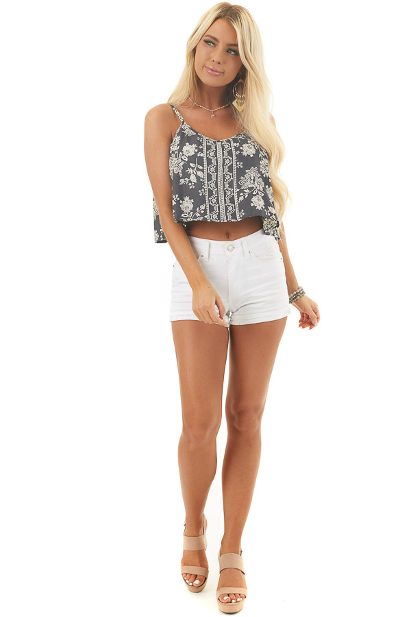Charcoal Floral Print Sleeveless Crop Top with Overlay