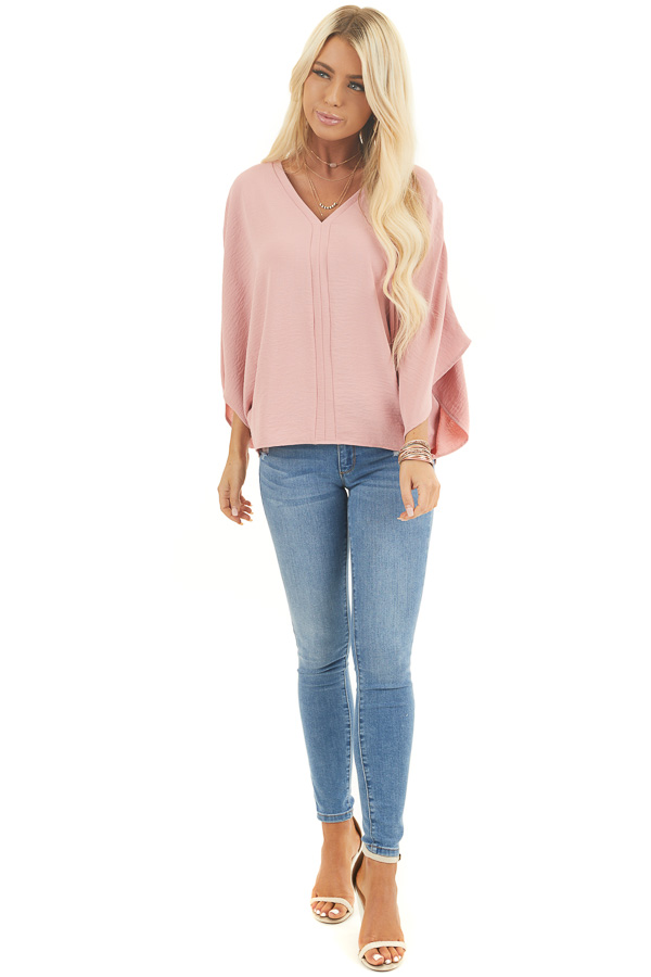 Dusty Blush Loose Fit V Neck Batwing Top