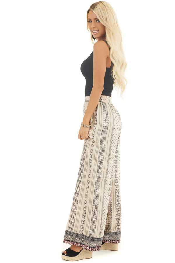 Beige Printed Flared Pants with Elastic Waist and Pockets