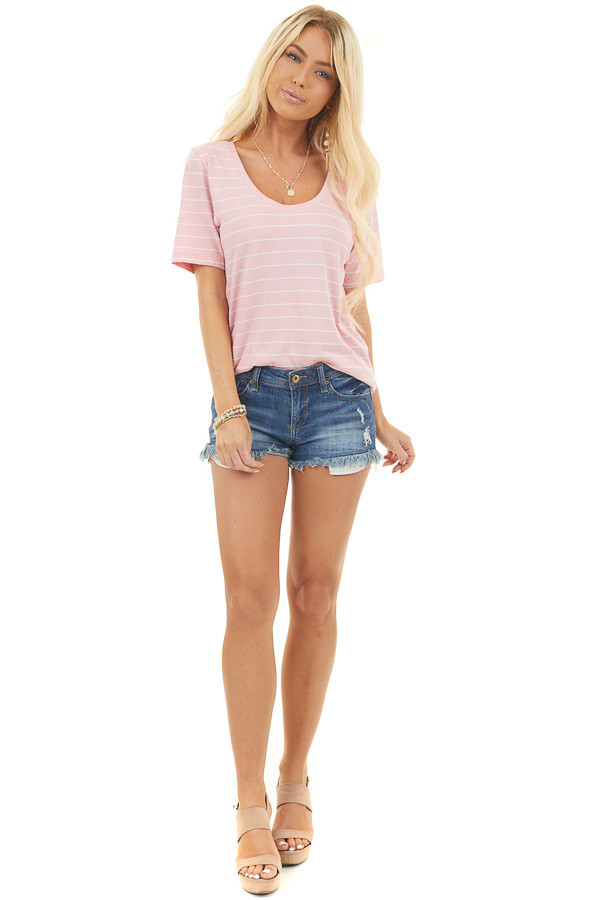 Baby Pink and White Striped Knit Top with Rounded Neckline