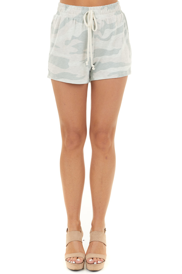 Sage and Oatmeal Camo Print Knit Shorts with Pockets and Tie