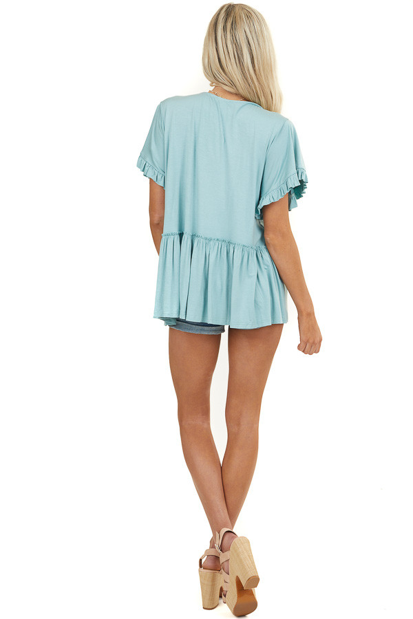 Seafoam Jersey Knit Top with Short Ruffle Sleeves