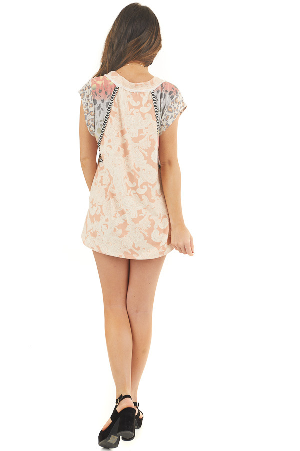 Light Peach Multi Print Knit Top with Short Sleeves