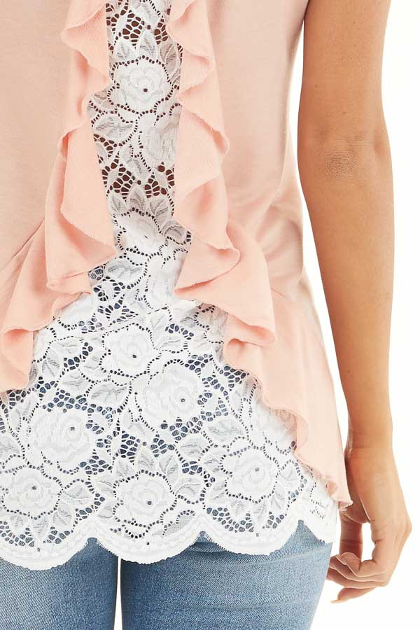 Peach Short Sleeve Knit Top with Lace and Ruffle Details