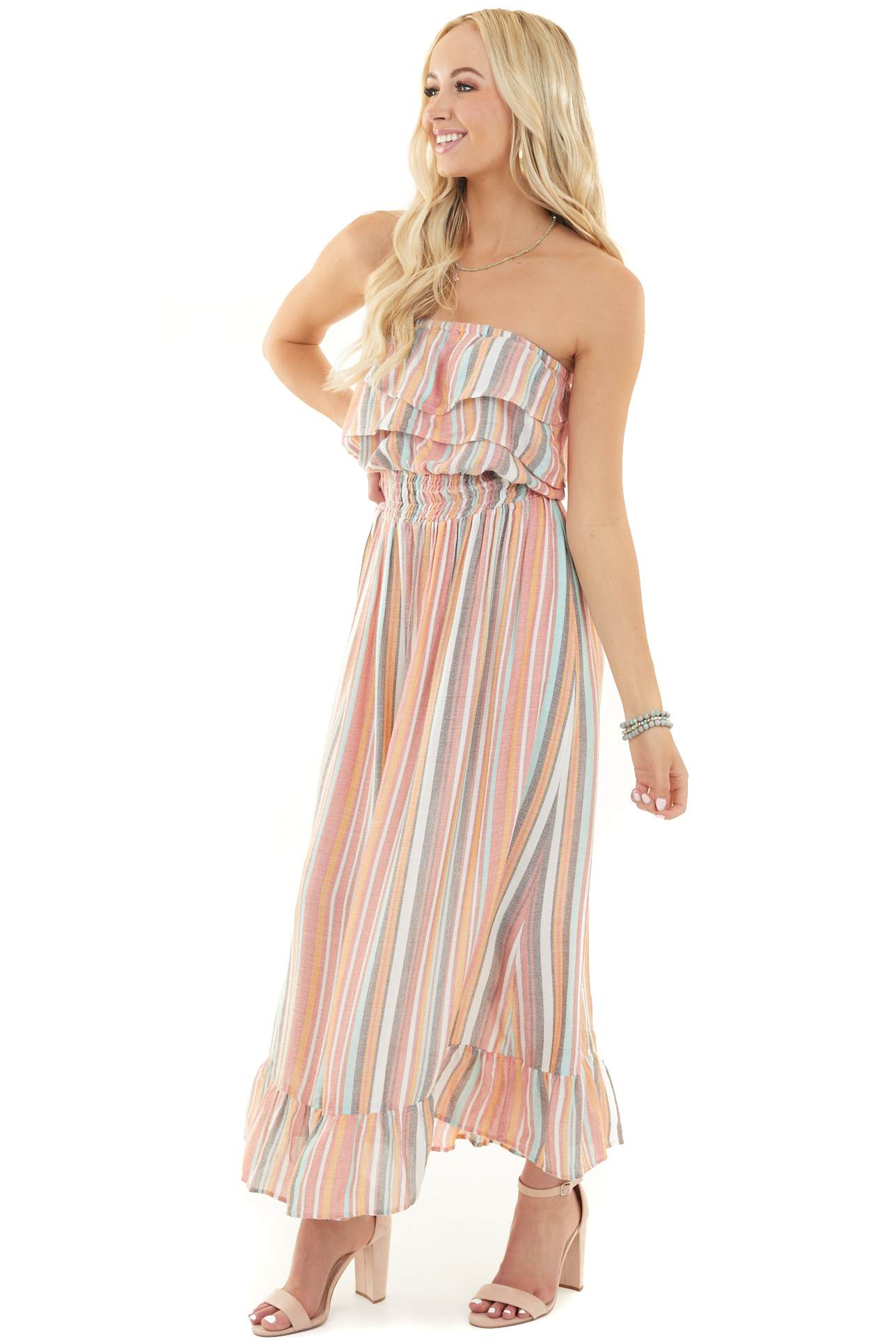 Multicolor Strapless Maxi Dress with Ruffled Hemline