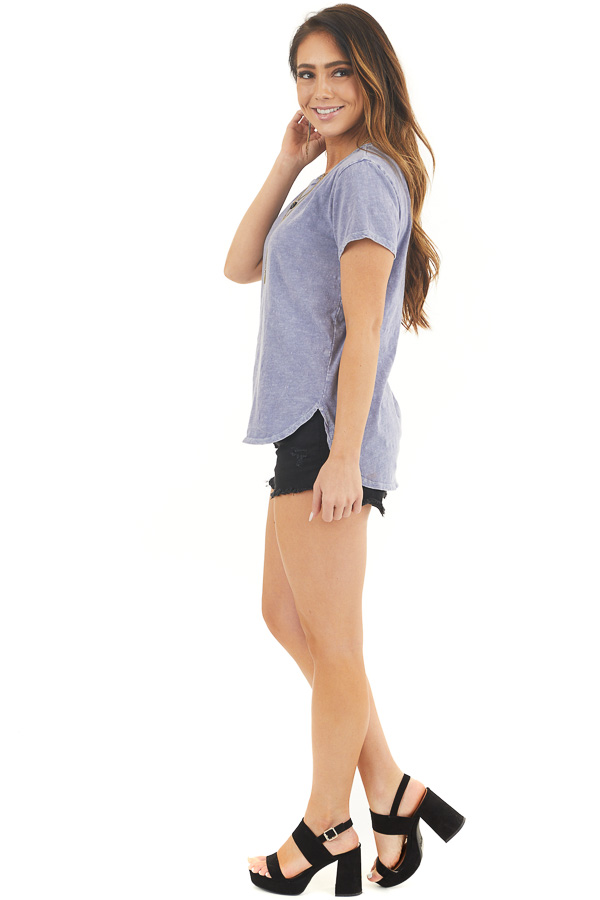 Light Periwinkle Acid Wash Knit Top with High Low Hemline