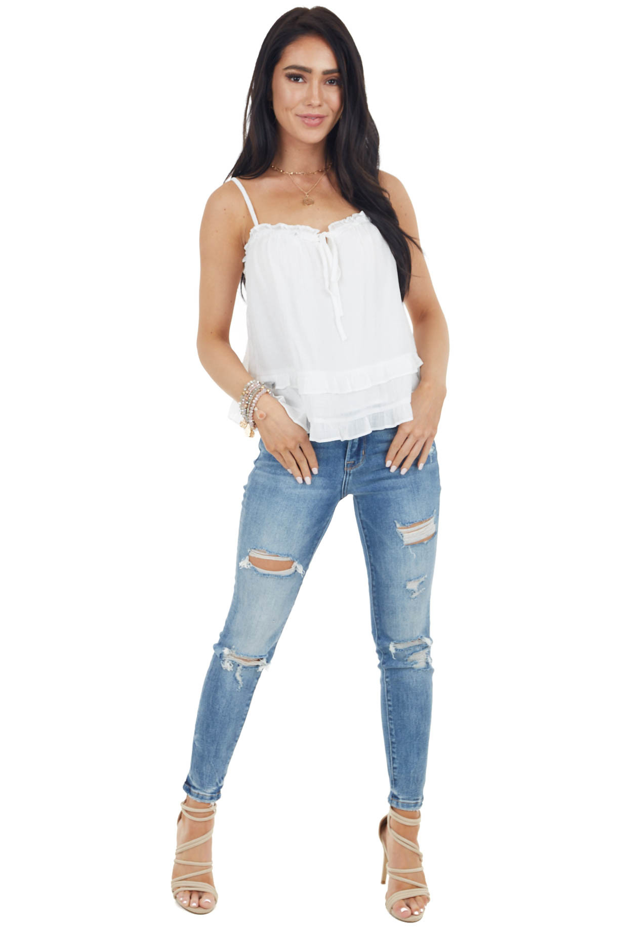 Off White Tiered Ruffle Tank Top with Front Tie