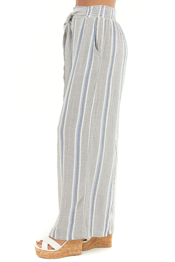 Ivory Striped Wide Leg Pants with Elastic Waist and Pockets