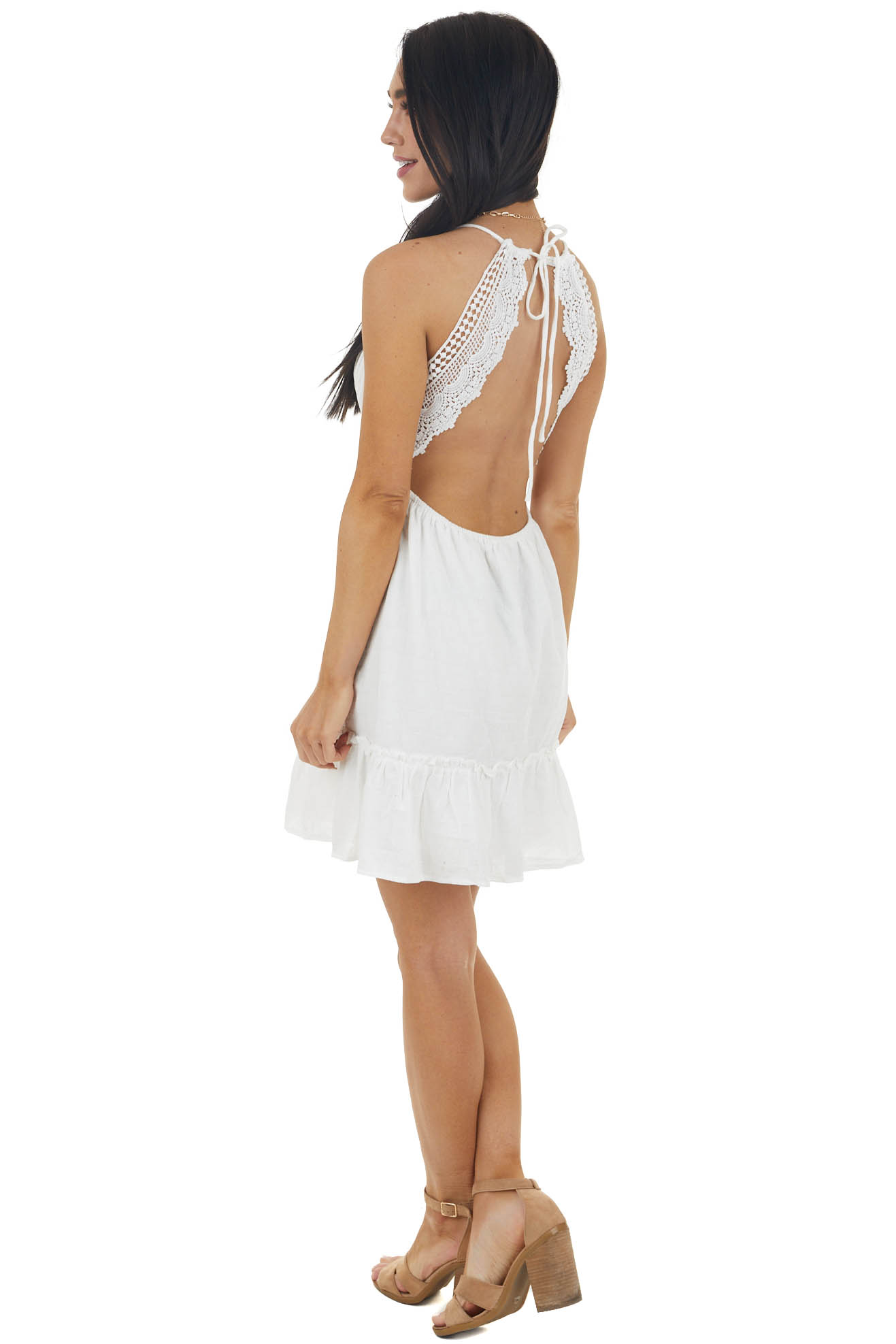 Off White Sleeveless Dress with Crocheted Lace Details