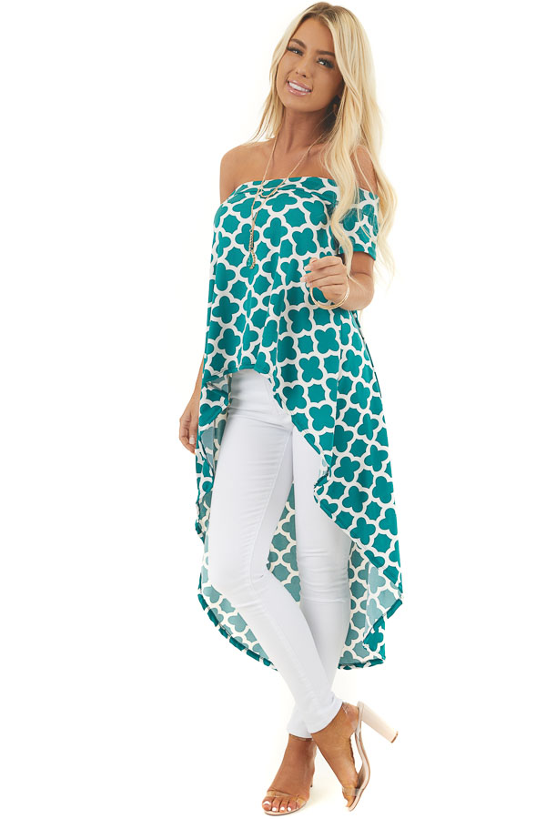 Forest Green Printed Off Shoulder Top with High Low Hemline