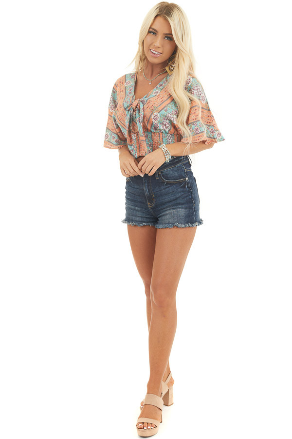 Papaya Multicolor Cropped Top with Tie and Smocked Hemline