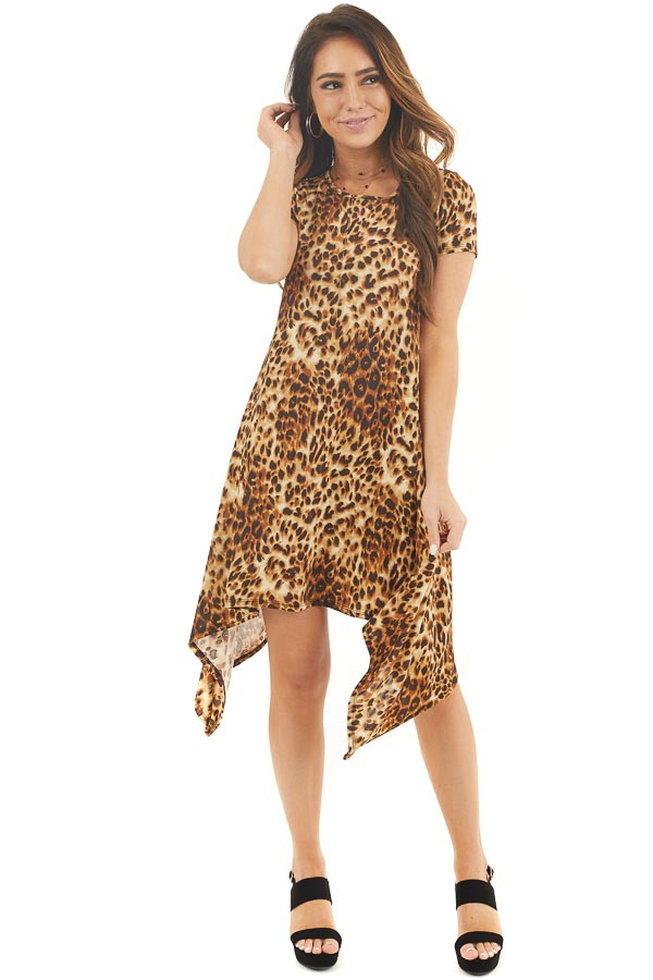 Caramel Leopard Print Short Sleeve Knit Dress