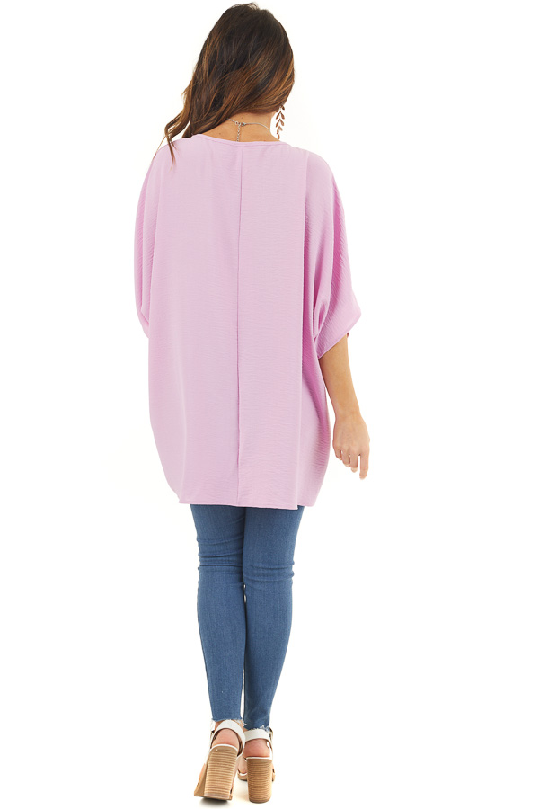 Neon Lilac Oversized V Neck Top with High Low Hemline