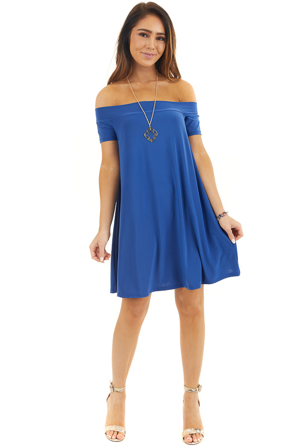 Cobalt Blue Off the Shoulder Slinky Mini Dress