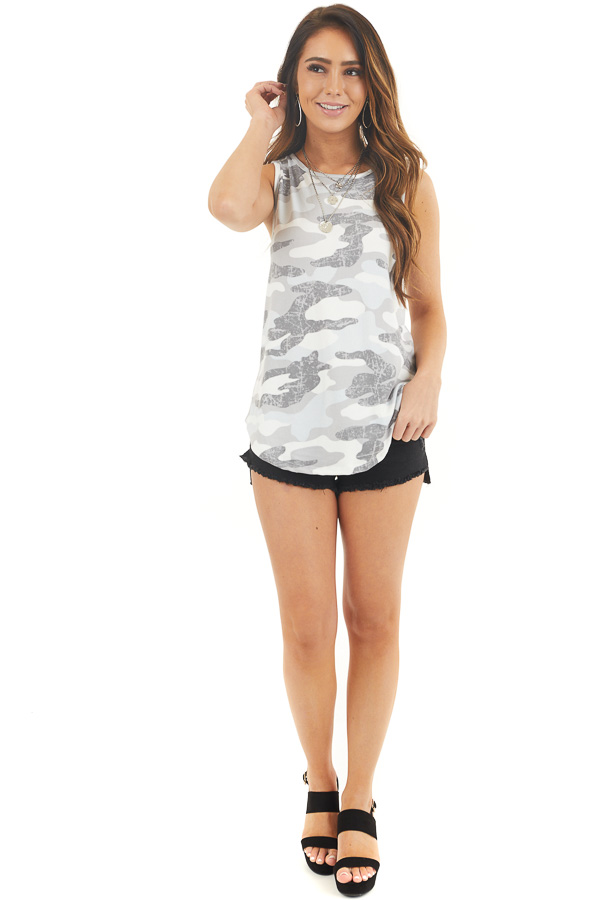 Baby Blue and Stone Grey Camo Print Tank Top