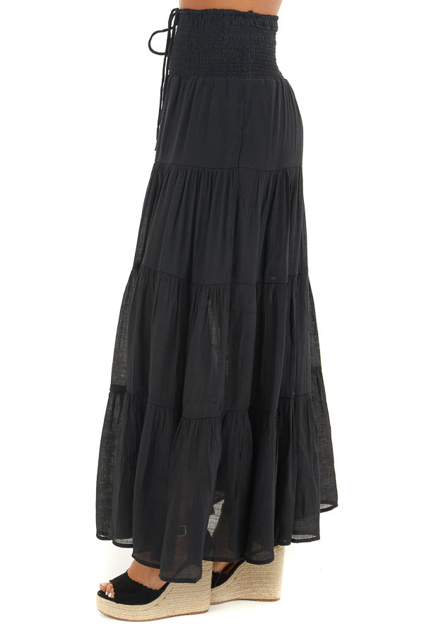 Black Tiered Maxi Skirt with Smocked Waist and Front Tie