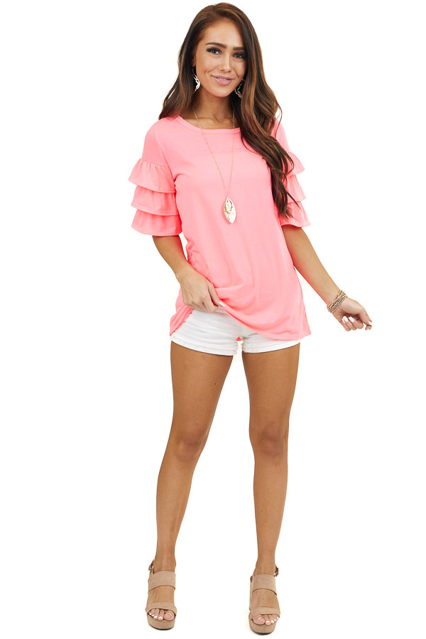 Neon Pink Knit Top with 3/4 Tiered Ruffle Sleeves