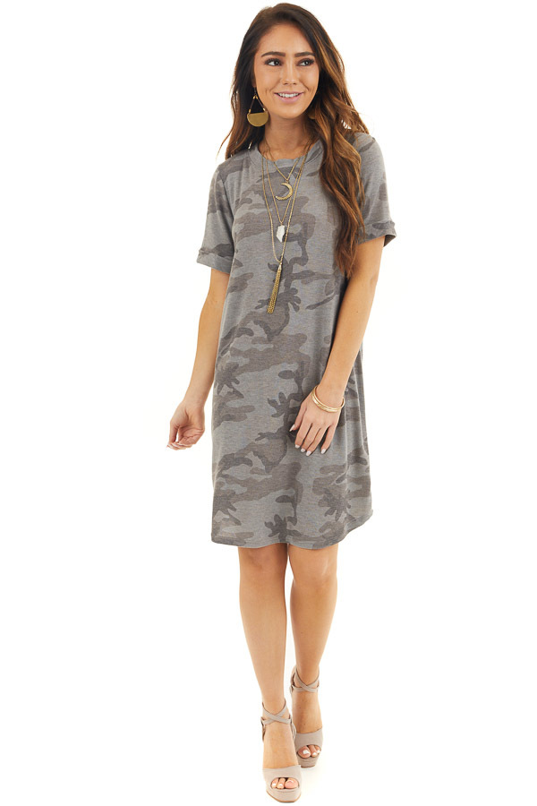 Stone Grey Camo Print Tee Shirt Dress with Cuffed Sleeves