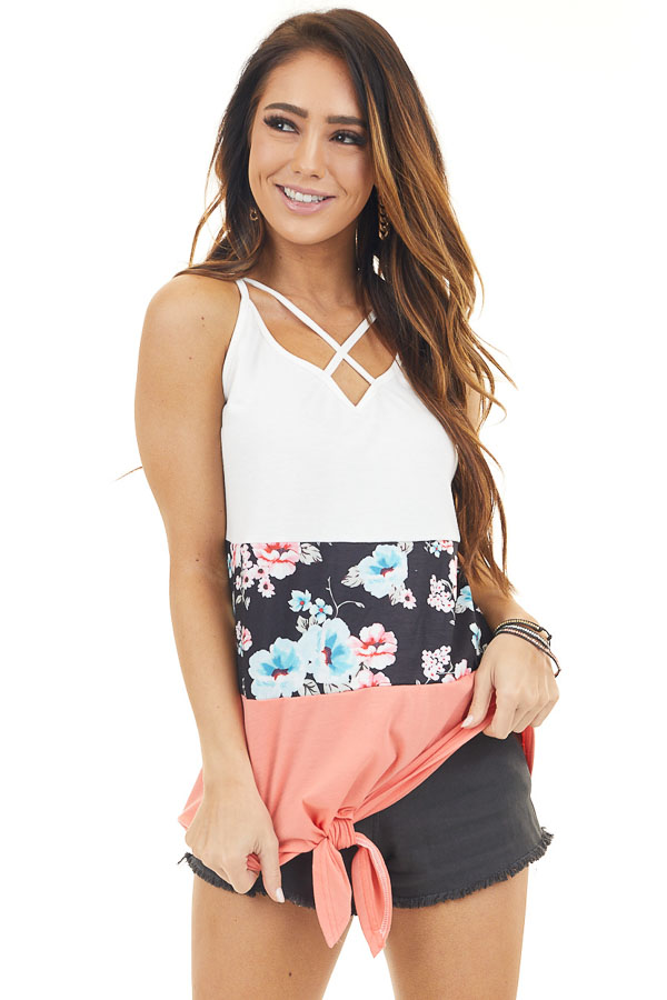 White Coral and Floral Color Block Tank Top with Front Tie