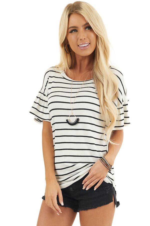 Black and Ivory Striped Tee with Short Bell Sleeves