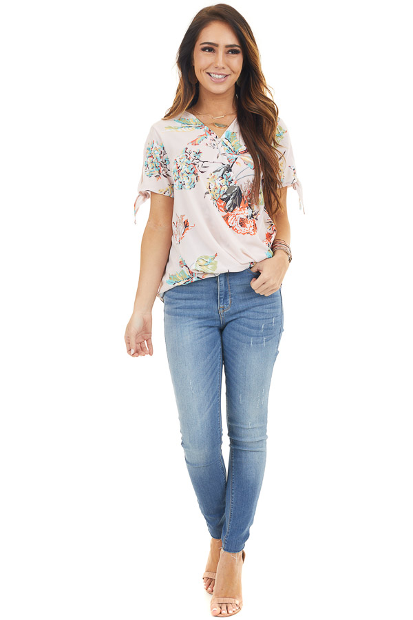 Pale Peach Floral Surplice Woven Top with Sleeve Ties