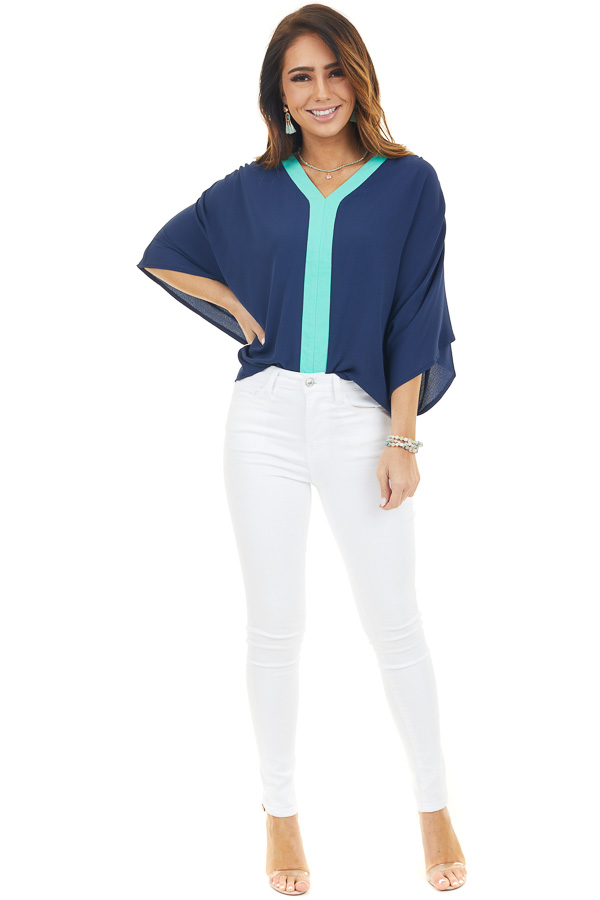 Navy Blue Blouse with Short Dolman Sleeves and Teal Contrast