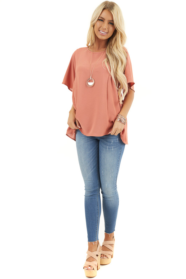 Terracotta Loose Top with Rounded Neckline and Short Sleeves