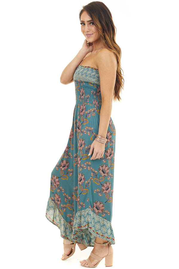 Dusty Teal Printed Strapless Jumpsuit with Asymmetrical Hems