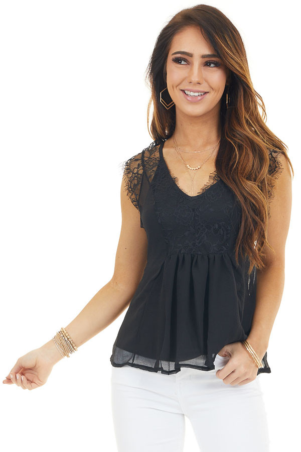 Black Tank Top with Lace Details and V Neckline