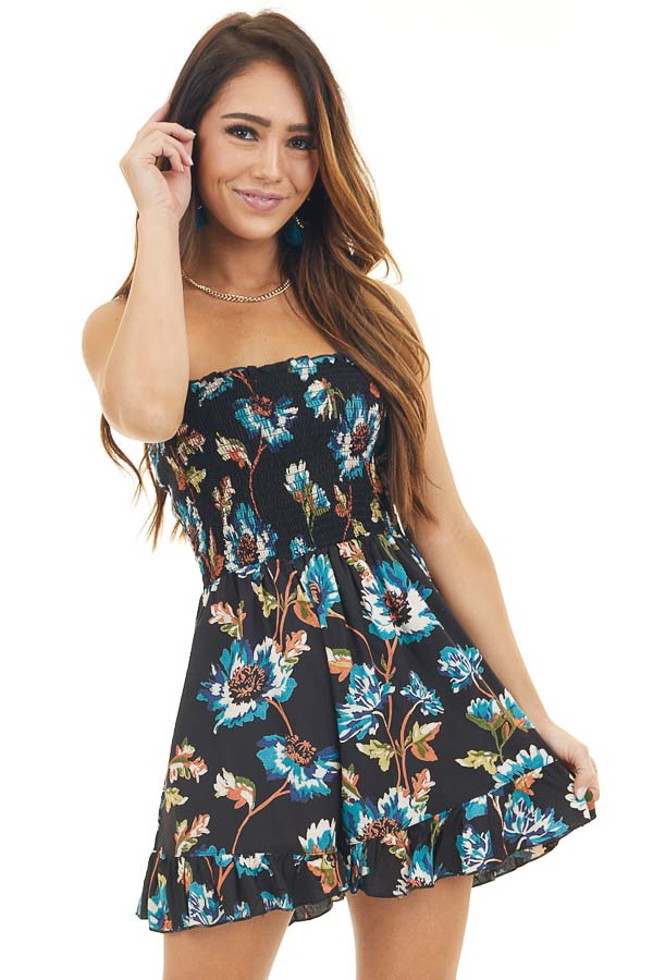 Black Multicolor Floral Strapless Romper with Ruffle Trim