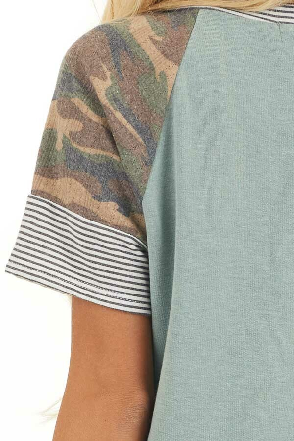 Sage Knit Shirt with Short Multiprint Contrast Sleeves