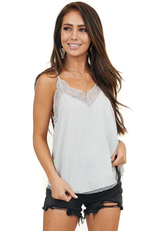 Silver Sleeveless Cami Top with Lace Trim and Racerback