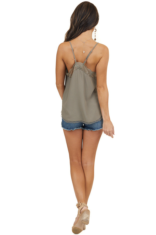 Chocolate Sleeveless Cami Top with Lace Trim and Racerback