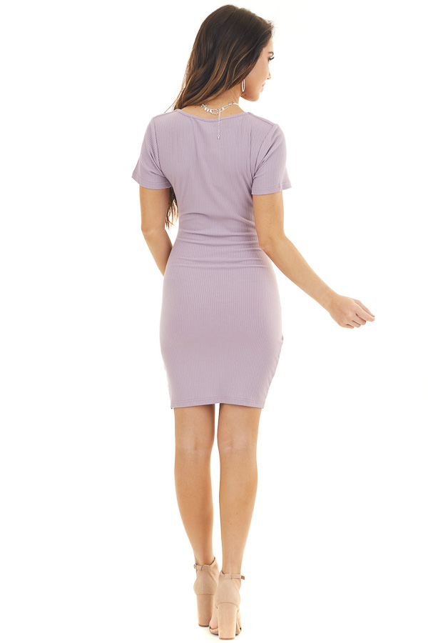 Lilac Textured Short Dress with Side Ruching and Front Tie