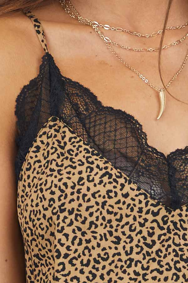 Toffee Leopard Print Cami Top with Lace Trim and Racerback