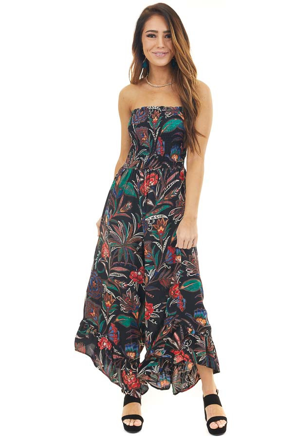 Black Printed Strapless Jumpsuit with Asymmetrical Hems