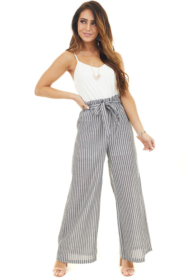 Off White Jumpsuit with Black Stripped Contrast and Tie