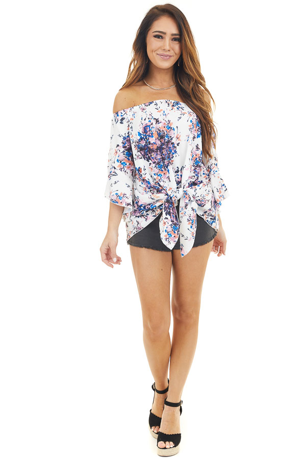 White and Lavender Floral Off Shoulder Top with Front Tie