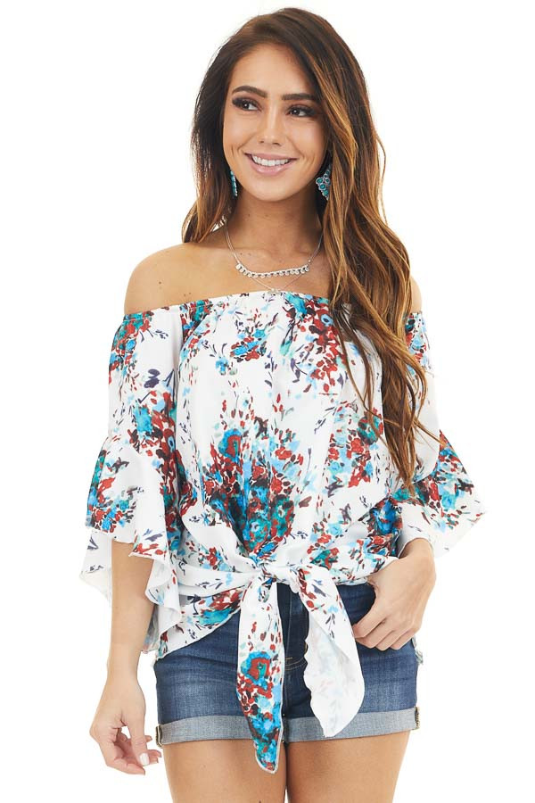White and Powder Blue Floral Off Shoulder Top with Front Tie