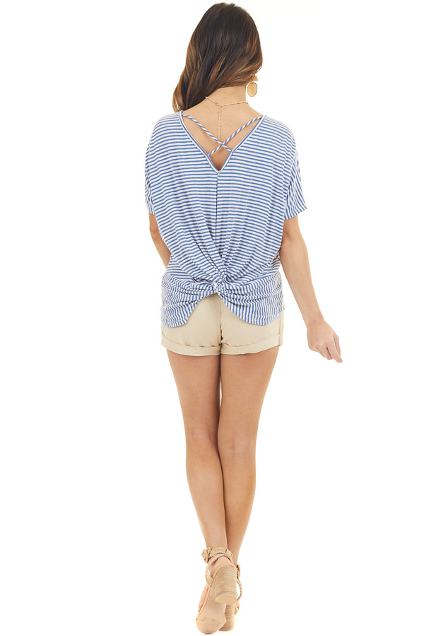 Vintage Blue Striped Top with Back Criss Cross and Twist