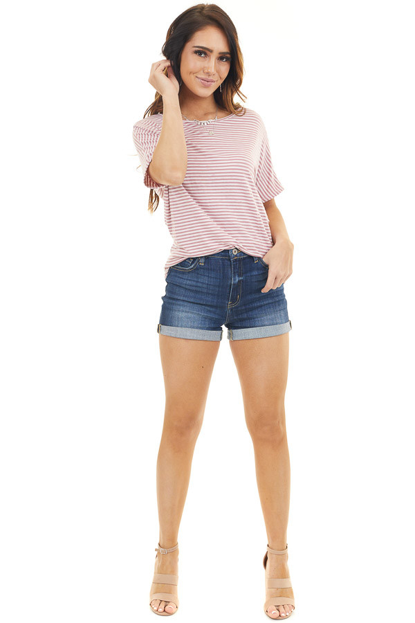 Mauve Striped Top with Back Criss Cross and Twist