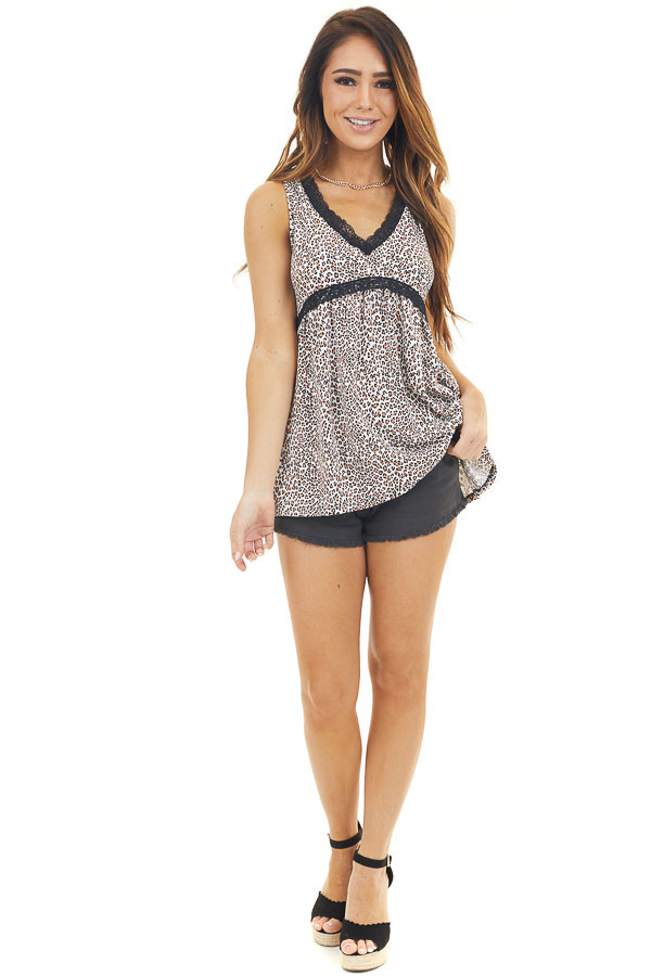 Ivory Leopard Print Sleeveless Babydoll Top with Lace Trim