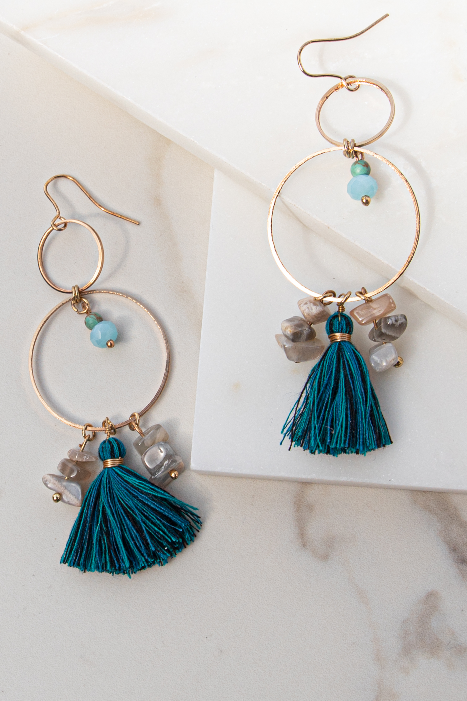 Gold Chandelier Earrings with Stone Beads and Teal Fringe