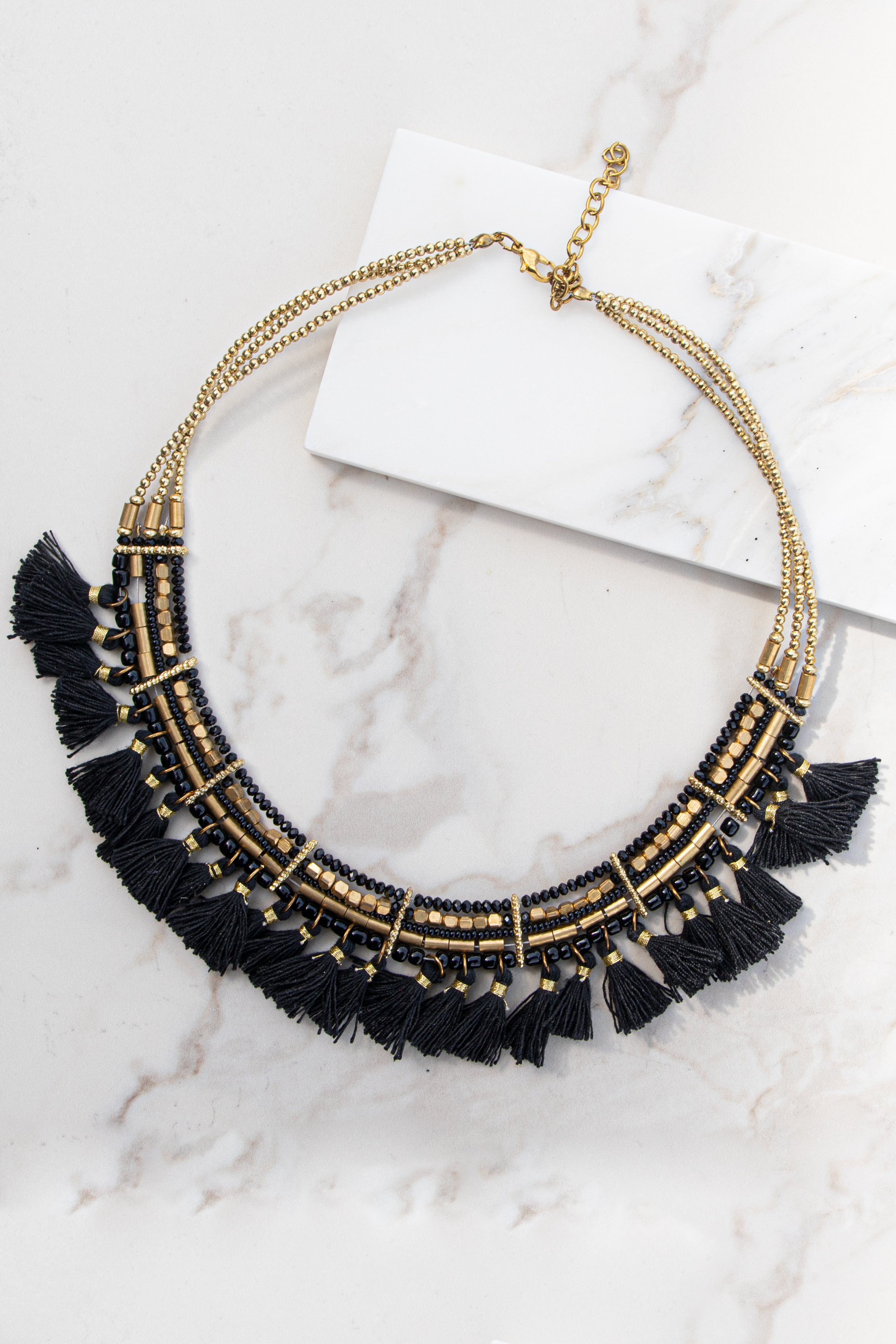 Gold and Black Beaded Choker Necklace with Tassel Details